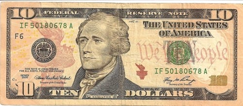 Image result for ten dollar bill image